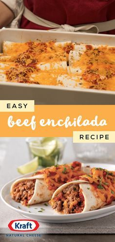 Cheesy Beef Enchiladas Easy beef enchilada recipe Cheese enchilada recipe It& both! This easy Cheesy Beef Enchilada dish is the perfect goto weeknight dinnertime idea thanks to the tasty combination of ground beef, salsa, cheddar cheese, and tor Cheesy Beef Enchiladas Recipe, Enchilada Recipes, Enchilada Casserole, Beef Dishes, Food Dishes, Main Dishes, Quesadillas, Mexican Dishes, Mexican Food Recipes