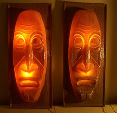vintage 50's giant TIKI head lights - The Hy-Glow Co. surf lounge bar | eBay