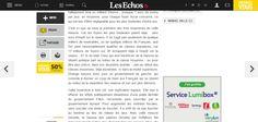 """Sur la nouvelle version du site des Echos (lancée début juin 2014), le bloc """"Réagir"""" descend lorsqu'on scrolle et ouvre un volet de commentaires Disqus à gauche."""