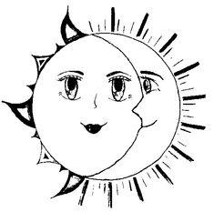 El sol y la luna  Dibujalia  Dibujos para colorear  Elementos y