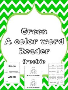 This book is an easy reader to help reinforce the color word green. My color word books not only teach color word recognition but concepts of print, sight words and vocabulary.  They can be used for guided reading and for small or large group instruction.