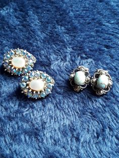 Vintage Earrings, Clip On earrings, Blue Earrings, Diamante, Marcasite, Vintage Jewelry, Vintage Fashion, Gifts for Her, Aurora Borealis by TillyofBloomsbury on Etsy