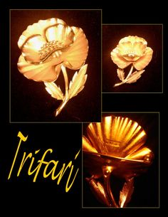 Vintage Trifari Brushed finish Poppy Brooch by PurpleHazeDayz, $49.00