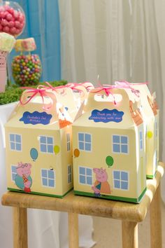 Peppa Pig House Favor Box *Read Description Before Ordering* Fiestas Peppa Pig, Cumple Peppa Pig, Peppa Pig Pinata, 4th Birthday Parties, Birthday Party Decorations, 3rd Birthday, Peppa Pig House, Party Favors, Pig Birthday Cakes