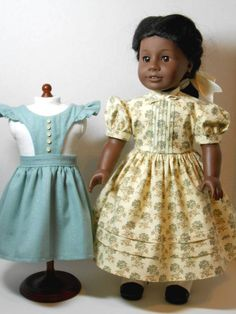 American Girl Mid-1800's Dress and Apron Pinafore for Addy, Cecile, or Marie-Grace