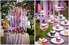 Yes, those are suspended cupcakes hanging by ribbon. Unreal. This was designed for a wedding reception, but provides gorgeous inspiration for a birthday party too! The hanging jewels are also a gorgeous touch. Visit one of my favorite sites, Save On Crafts, for crystals to hang for a similar look!