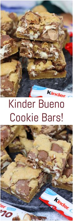 Gooey, Delicious Cookie Bars packed full with Kinder C… Kinder Bueno Cookie Bars! Gooey, Delicious Cookie Bars packed full with Kinder Chocolate and Kinder Bueno pieces! Tray Bake Recipes, Baking Recipes, Cookie Recipes, Dessert Recipes, 13 Desserts, Delicious Desserts, Yummy Food, Delicious Chocolate, Kinder Bueno Recipes