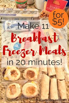 Make 11 Breakfast freezer meals in 20 minutes for about 5 while youre making breakfast already This breakfast freezer cooking plan is a life saver Freezer Friendly Meals, Make Ahead Freezer Meals, Freezer Cooking, Frugal Meals, Cheap Meals, Inexpensive Meals, Budget Freezer Meals, Budget Cooking, Cooking Tips
