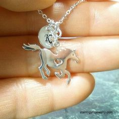 Horse Necklace with Initial - Sterling Silver #SterlingSilverFindings
