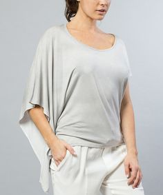 Another great find on #zulily! Ash Gray Asymmetrical Top - Women by Morning Apple #zulilyfinds
