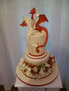Red and White Dragon Wedding Cake In the mythology of Wales, there is a story in the Mabinogion about about an epic battle between a red(Welsh)and a white(Anglo-saxon) dragon. The stories say the powerful red dragon eventually subdued the white dragon, but perhaps instead they just fell in love and got married. It wouldn't be the first Celtic love story to start with a war of wills and end with passionate love.