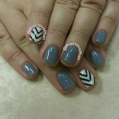 Grey with black and white chevron. #PreciousPhanNails
