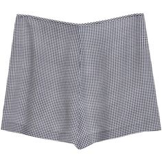 Equipment Lewis Short Black Gingham Print High Waisted Shorts ($125) ❤ liked on Polyvore featuring shorts, bottoms, clothes - shorts, short, black archive gingham print, high-rise shorts, highwaist shorts, high-waisted shorts, high waisted short shorts and short shorts