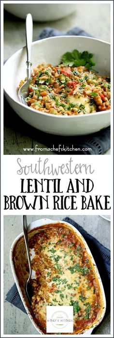 Southwestern Lentil and Brown Rice Bake is cheesy delicious meatless comfort foo. - Southwestern Lentil and Brown Rice Bake is cheesy delicious meatless comfort food even a carnivore - Vegetarian Main Dishes, Vegetarian Recipes Dinner, Entree Recipes, Side Dish Recipes, Healthy Recipes, Healthy Vegetarian Casserole, Vegetarian Comfort Food, Vegan Meals, Comfort Foods
