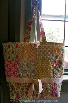 16 charms – I used Verna by Kate Spain 1/3 yard matching fabric for the bottom of the bag and the handles 1/4 yard of matching fabric for th...