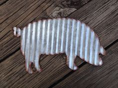 Galvanized Metal Pig Industrial Wall Decor Rustic by Peacebabys