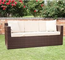 Richmond Brown 3 Seat Synthetic Rattan Sofa