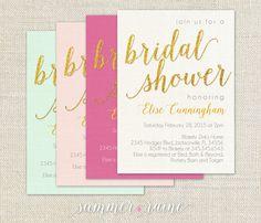 Glitter Bridal Shower Invite - Custom Color - mint, blush, fuchsia and white
