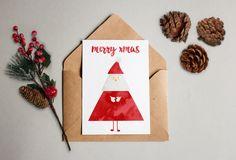 Weihnachtskarte Christmas card – Geschenkkarte Gift merry xmas/frohes FestWeihnachtsmann Tannenbaum Tanne Rot Weiss Kunstdruck von KvanDEER auf Etsy https://www.etsy.com/de/listing/488360047/weihnachtskarte-christmas-card