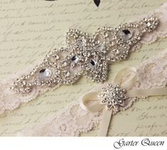 "Wedding garter set, Ivory stretch lace Bridal Garter set, Heirloom Rhinestone and Crystal garters    Stunning bridal garter set made with a gorgeous 1"" stretch lace of a soft cream ivory color.    Keepsake garter is decorated with a delicate handmade applique beaded with genuine rhinestone crysta..."