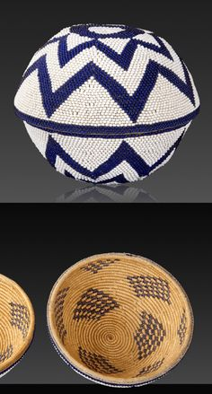 Africa | Oblate beaded basket from the Tutsi people of Rwanda or Burundi | Coiled fibre basketry and glass beads | 20th century