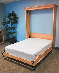 Fold-Down Bed Hardware Kits - Lee Valley Tools. at it's most basic but you can add on bookcases and shelving etc. Space Saving Furniture, Furniture Making, Fold Down Beds, Bed Hardware, Foldable Bed, Small Studio Apartments, Hidden Bed, Bed Storage, Storage Sheds