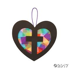 Cross in Heart Tissue Paper Sign Craft Kit