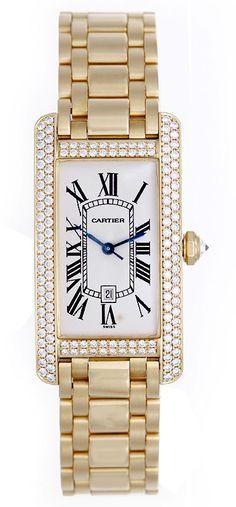 Cartier 18k Tank Americaine Midsize Mens/Ladies 18k Yellow Gold & Diamond Watch - http://menswomenswatches.com/cartier-18k-tank-americaine-midsize-mensladies-18k-yellow-gold-diamond-watch/ COMMENT.