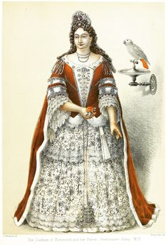 In Westminster Abbey Museum is a life size (5 feet 8 inches) wax effigy of Frances Teresa (Stuart), Duchess of Richmond and Lennox, with her pet African grey parrot on a stand beside her (which is the oldest stuffed bird in the country).