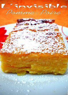 6 pers 2.5 pp 200° 35 min - 3 pommes - 3 poires - 2 œufs - 10 cl de lait - 70 g de farine - 50 g de sucre - 20 g de beurre fondu - 1 sachet de levure - 1 cs d'arôme vanille - sel préparer l'appareil dans 2 saladiers : 1 pour les pommes coupées en TRES fines lamelles (mandoline ou économe) 1 pour les poires. et mettre dans un moule beurré d'abord un saladier, puis l'autre.