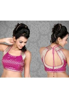 Pink Brocade Saree Blouse