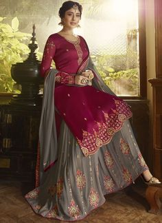 Divine Zari Grey and Magenta Faux Georgette Designer Pakistani Suit Punjabi Suits Party Wear, Party Wear Indian Dresses, Pakistani Formal Dresses, Designer Party Wear Dresses, Pakistani Dress Design, Pakistani Suits, Indian Outfits, Party Dresses, Stylish Dress Designs