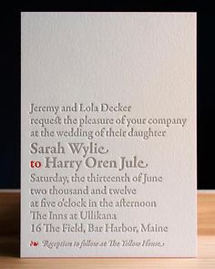 i like this. it is simple and clean, and the small red to really pops on the page making your eye look right at the names and realizing its an invitation.