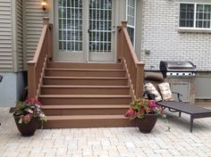Paver Patio Steps Designs Patio With Pit Seating Wall And Grill Steps Traditional Patio Paver Patio Steps Ideas Diy Stairs, Porch Steps, Patio Design, Diy Patio, Brick Patios, Outdoor Patio Decor, Patio Stairs, Painted Stair Railings, Stairs