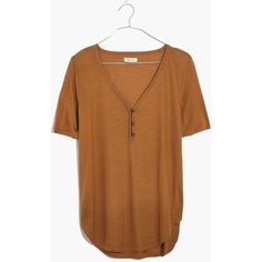MADEWELL Drapey Henley Tee ($40) ❤ liked on Polyvore featuring tops, t-shirts, cedar, madewell, denim top, henley tops, denim t shirt and beige t shirt