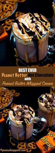 This quick and easy Peanut Butter Hot Chocolate tastes just like a peanut butter cup in liquid form! Top it off with peanut butter whipped cream, chopped peanut butter cups, and a drizzle of chocolate sauce and melted peanut butter for the ultimate PB and Chocolate drink!