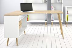 One of a kind Corner Desk Oslo is a grate way to isolate a very practical place to work or study. A good place to read, do homework or work as a freelancer for everyone. The warmth of the natural color of the wood and pure white, combined with simple lines give a sense of peace and help with concentration. | eBay!