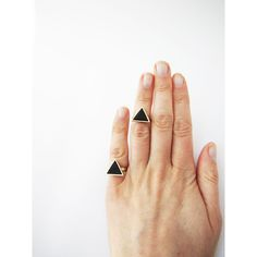 Knuckle black triangle ring . Geo ring. Listing for 1 one ring Black... (€13) ❤ liked on Polyvore featuring jewelry, rings, geometric rings, knuckle jewelry, clay rings, geometric jewelry and cabochon jewelry