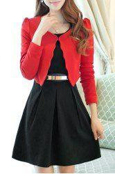 Graceful Scoop Collar Long Sleeve Solid Color Blazer + Faux Belt Embellished Dress Twinset For Women (RED WITH BLACK,M) | Sammydress.com Mobile