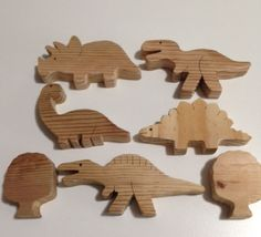 """Wooden Dinosaurs - Set of 5 w/2 Trees - Handmade - Approx. 1-1/2 - 2"""" Tall #UnbrandedHandmade"""