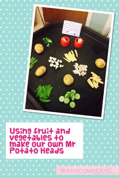 Making real Mr Potato Heads with vegetables. EYFS Making real Mr Potato Heads with vegetables. Mr Potato Head, Potato Heads, Growing Vegetables, Fruits And Vegetables, Olivers Vegetables, Eyfs Activities, Outdoor Activities, Finger Gym, Funky Fingers