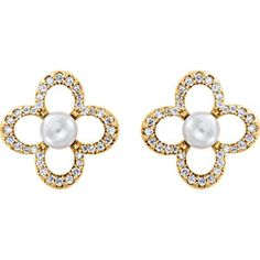 14kt Yellow White Freshwater Pearl and 1/4 CTW Diamond Earrings #gold #pearls Locate a jeweler near you: http://www.stuller.com/locateajeweler/