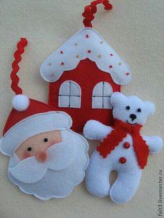 Resultado de imagem para ideas for felt christmas decorations Felt Christmas Decorations, Felt Christmas Ornaments, Christmas Fun, Father Christmas, Christmas Things, Christmas Projects, Felt Crafts, Holiday Crafts, Felt Projects