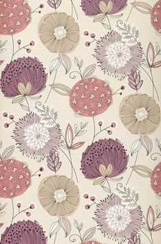 Brewster Wallcovering Wall Vision Purple Non-Woven Floral Wallpaper Wv Textures Patterns, Fabric Patterns, Flower Patterns, Color Patterns, Print Patterns, Flower Pattern Design, Motif Floral, Floral Design, Floral Prints