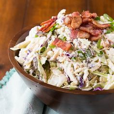Creamy and crunchy Blue Cheese Bacon Coleslaw is the perfect tangy/salty side dish for any grilled meat. It's also fantastic as a topping on burgers and hot dogs and even on tacos.