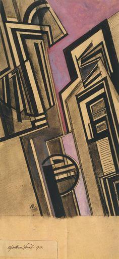 Wyndham Lewis 'Vorticist Composition' 1915 Gouache and chalk on paper 314 x 178 mm Harlem Renaissance, Wyndham Lewis, Modernist Movement, Art Deco, Art Database, Modern Metropolis, Cubism, Dieselpunk, Art History