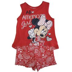 """Cartoon characters pictured on your child's clothing will bring nothing but joy and cuteness as shown by this Disney licensed casual set. The red sleeveless tank top features """"All American Girl"""" Minnie Mouse print. The paisley patterned shorts complete th"""