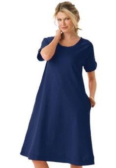 Woman Within Plus Size Dress With Roll-Cuff In T-Shirt Knit  http://bestplussizewomensclothing.com  Please Repin Or Like