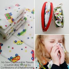 Raid your scrappy stash, create a bunch of No Sew DIY Reusable Tissues with my super easy tute and make this cold season eco-friendly! Eco Kids, Green Craft, Eco Friendly Bags, Sewing Projects, Recycling, Crafty, Super Easy, Green Building, Building Facade