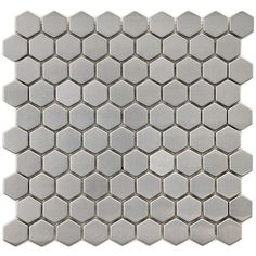Merola Tile Meta Hex 11-1/4 in. x 11-1/4 in. x 8 mm Stainless Steel Over Ceramic Mosaic Tile, Silver/High Sheen